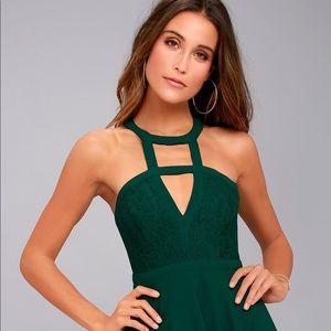 Lulu's Green Lace Skater Dress w/ Cutout Neckline
